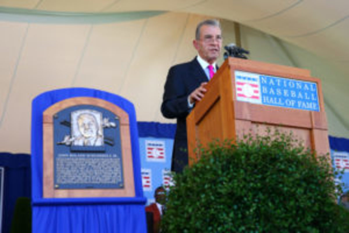 John Schuerholz gives his induction speech at Clark Sports Center during the Baseball Hall of Fame induction ceremony on July 30, 2017 in Cooperstown, New York. (Photo by Mike Stobe/Getty Images)