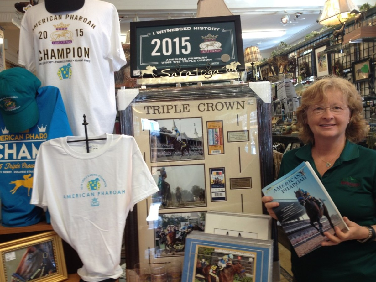 Horse racing memorabilia is on the rise, thanks to American Pharoah's Triple Crown season. Marianne Barker of Impressions of Saratoga gift shop has seen a rush of first-time buyers at her store.