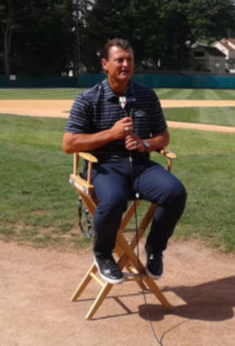 Newly inducted Baseball Hall of Famer Trevor Hoffman speaks at the Baseball Hall of Fame Roundtable.