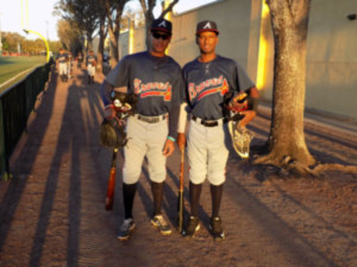 Braves prospects on their way to the back fields early one morning.