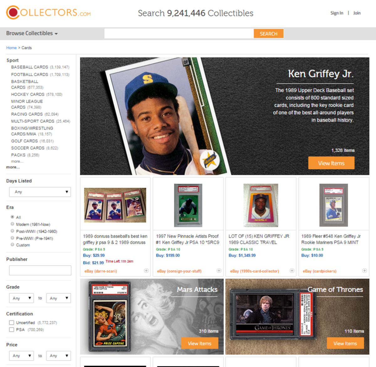 A view of the dedicated trading cards category on Collectors.com, a website where collectors can quickly find over $1 billion of collectibles offered for sale online.