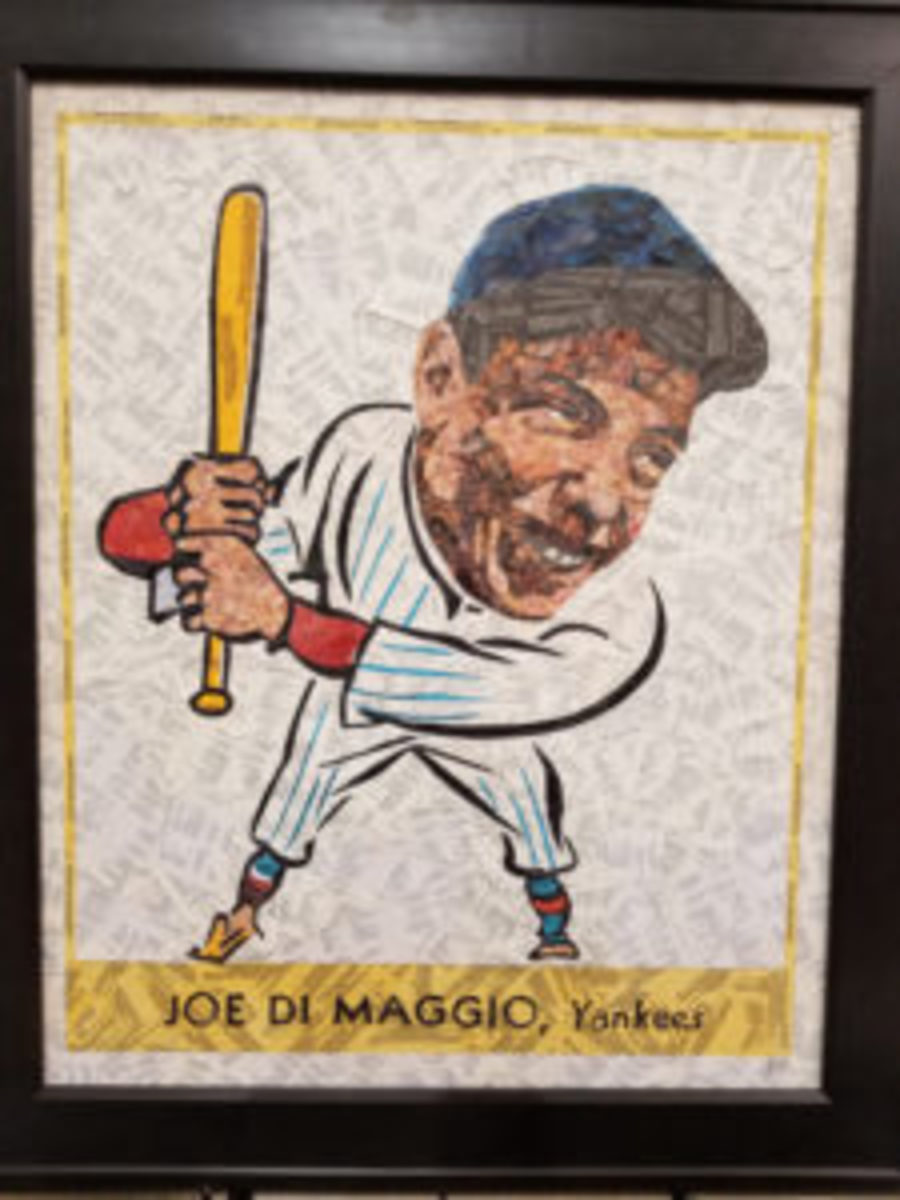 An artwork piece depicting the 1939 Goudey Joe DiMaggio card made from baseball cards.