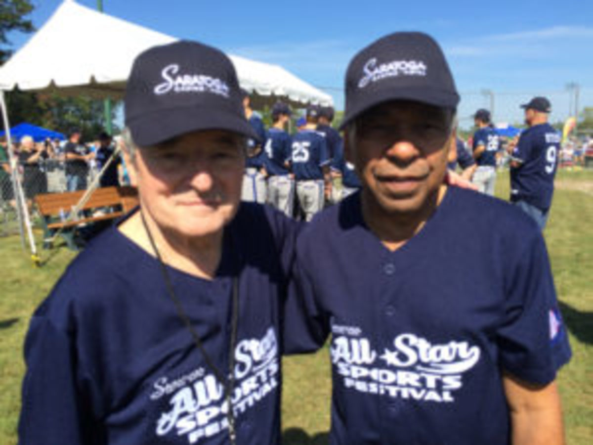 Jockeys Jean Cruguet and Angel Cordero Jr. at the All-Star Sports Festival.