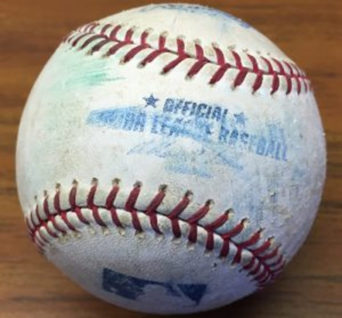This baseball was thrown by former Milwaukee Brewers pitcher Ben Sheets into a grass parking area at Spring Training in 2007.