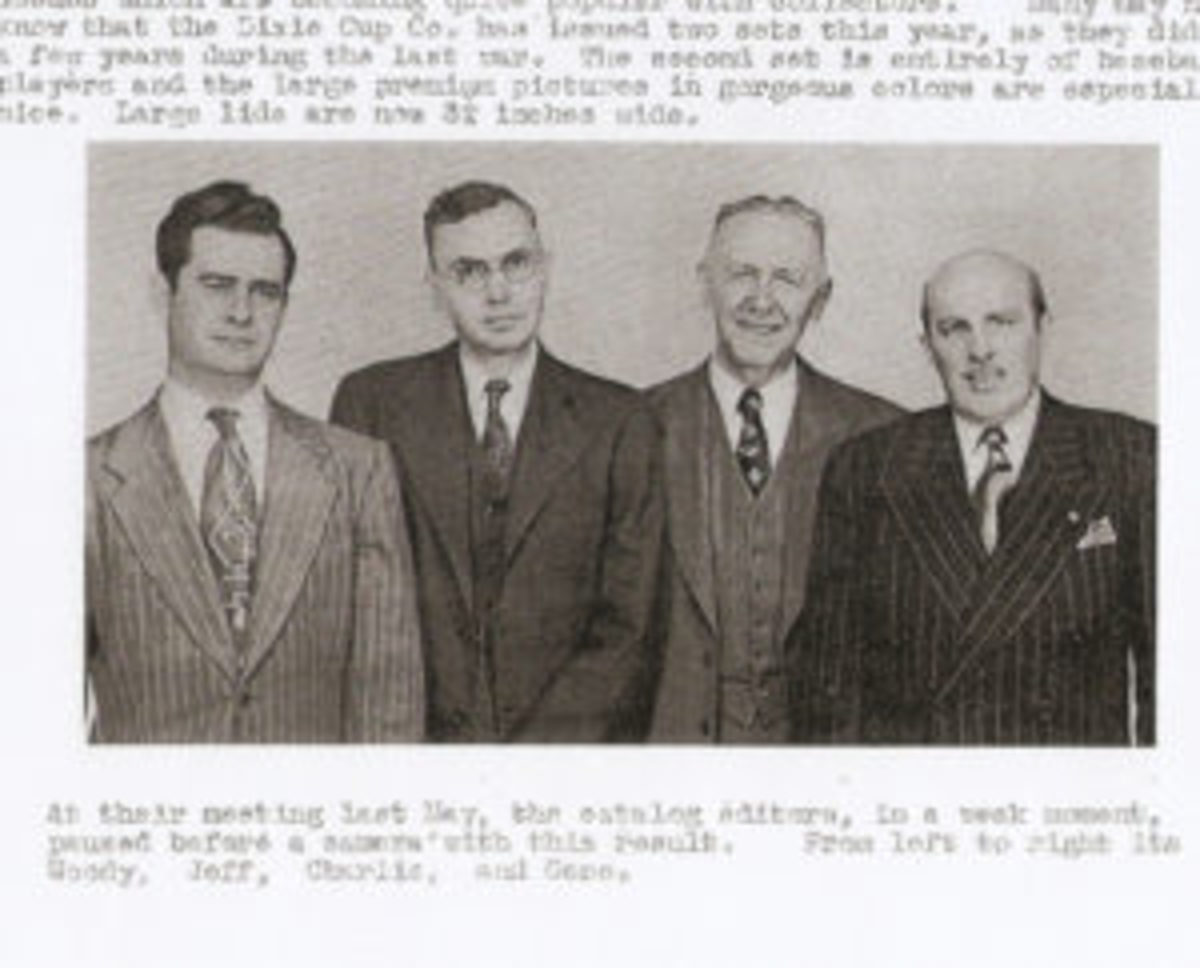 A rare photo of Woody Gelman, Jeff Burdick, Charles Bray and Gene DeNardo from a 1952 edition of Card Collectors Bulletin.