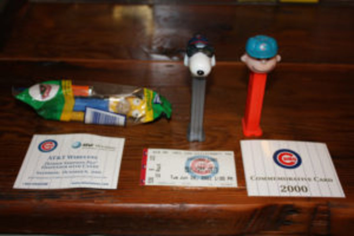 Pez dispensers that were stadium giveaways at Chicago Cubs games.