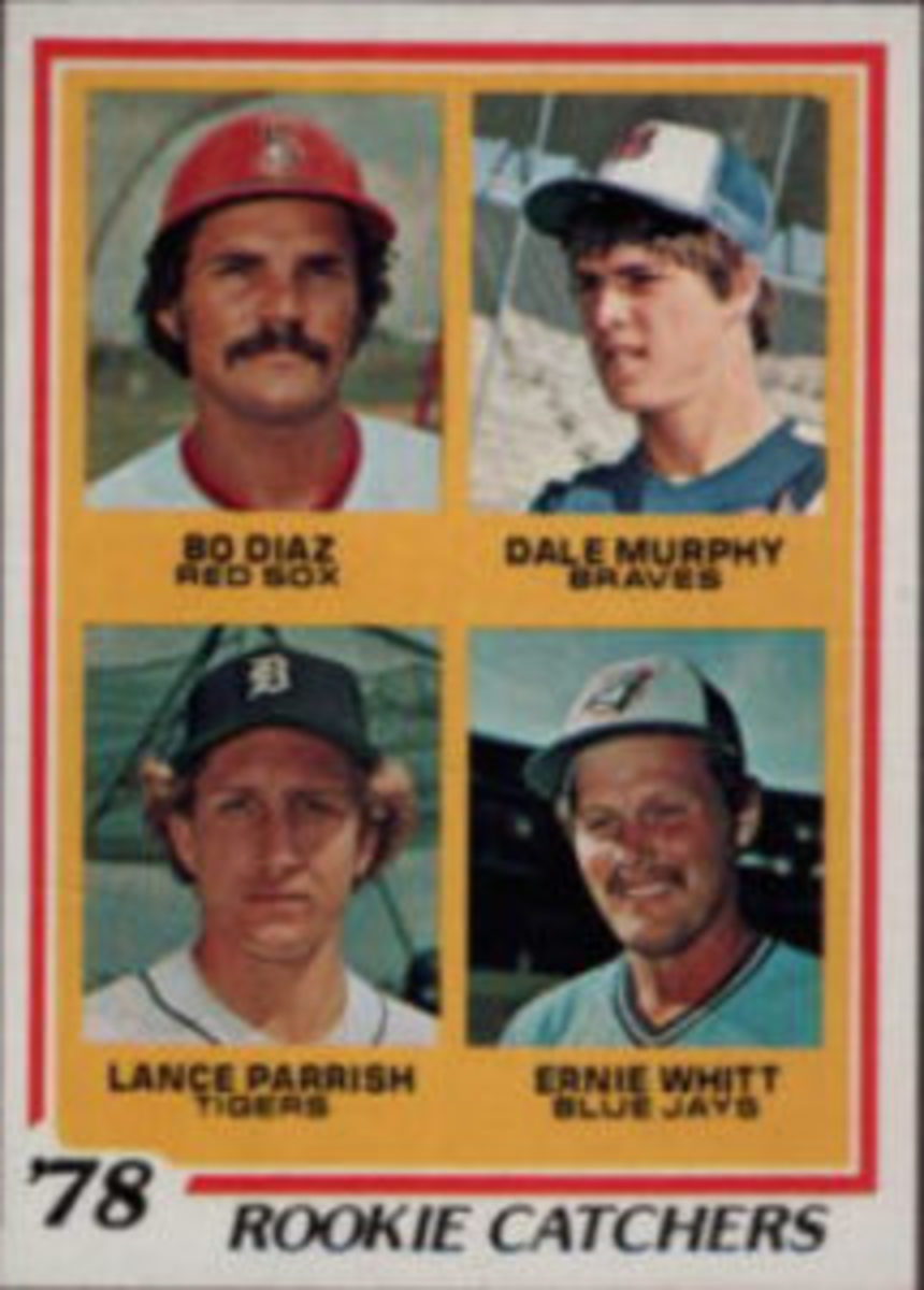 Dale Murphy has the distinction of sharing Rookie Catchers cards with other players on a 1977 Topps card (top) and on a 1978 Topps card (above).