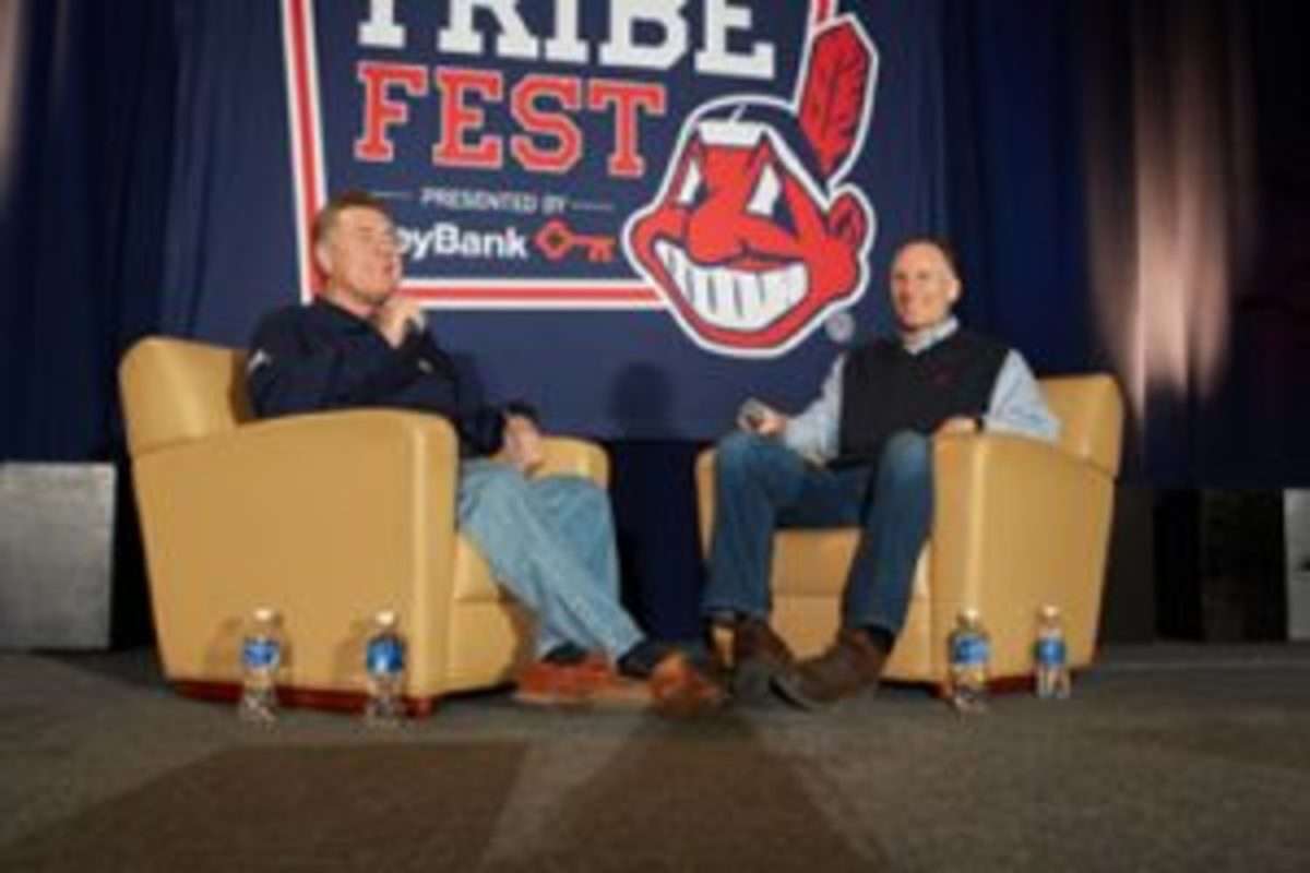 Tom Hamilton, left, with Mark Shapiro, right, at Tribe Fest when Shapiro was a member of the front office of the Cleveland Indians. (Courtesy the Cleveland Indians.)