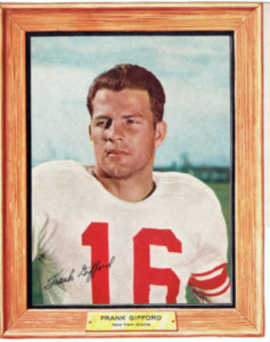 "Frank Gifford's signature from the 12 oz. box version will have the ""G"" and ""i"" portions completely on the white portion of Gifford's uniform"