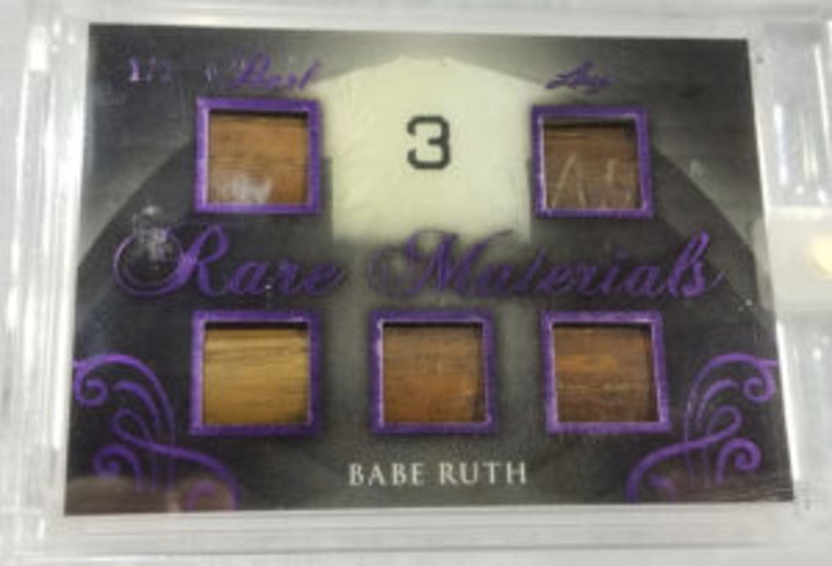 This Babe Ruth card featuring five pieces of Ruth-used bats is one of only two cards that exists, and had a price tag of $2,000. (Ross Forman photo)