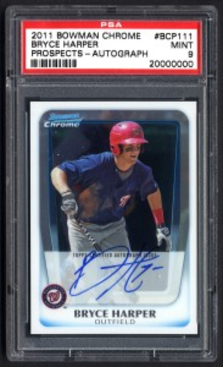 This 2011 Bowman Chrome Prospects autographed Bryce Harper card is the milestone 20 millionth item certified by PSA. (Photo credit: Professional Sports Authenticator.)