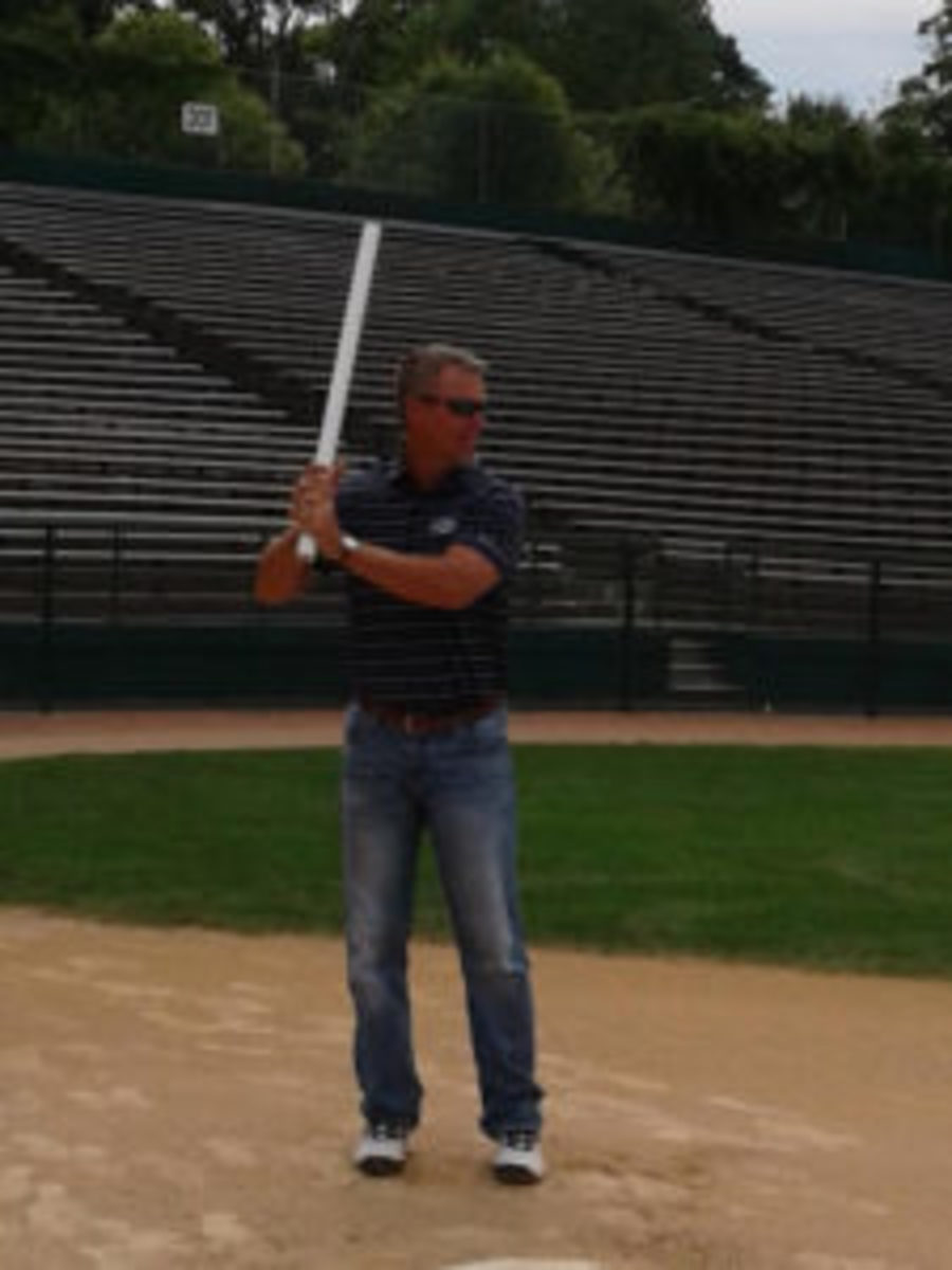 After the Baseball Hall of Fame Roundtable discussion, Chipper Jones took a few swings with a PVC pipe.