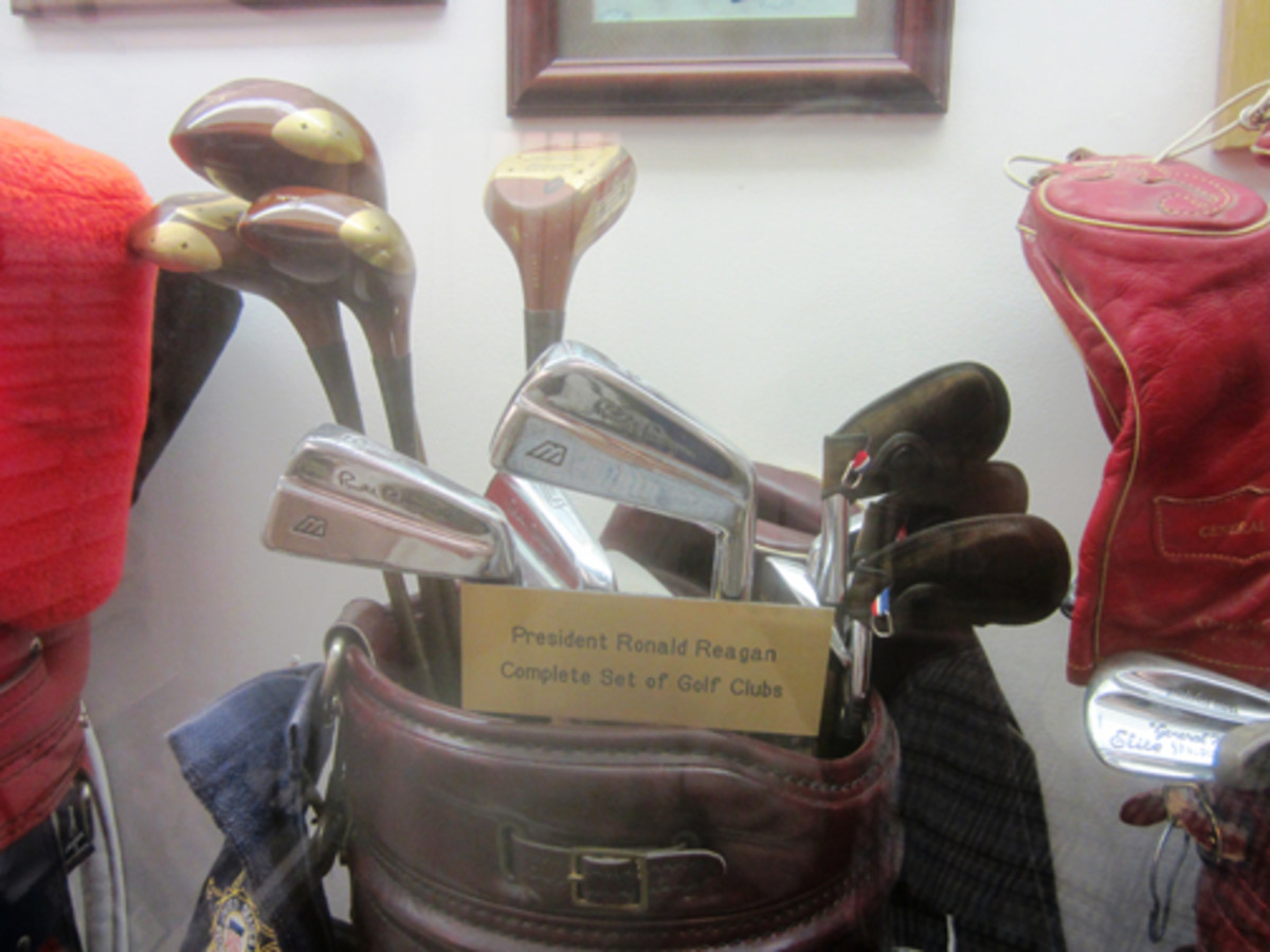 A set of golf clubs belonging to Ronald Reagan.