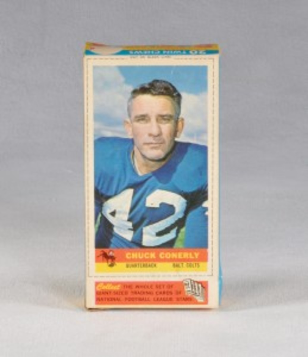 The Chuck Conerly card variation of him being named as a member of the Colts brings the 1959 Bazooka card set complete at 19 cards.