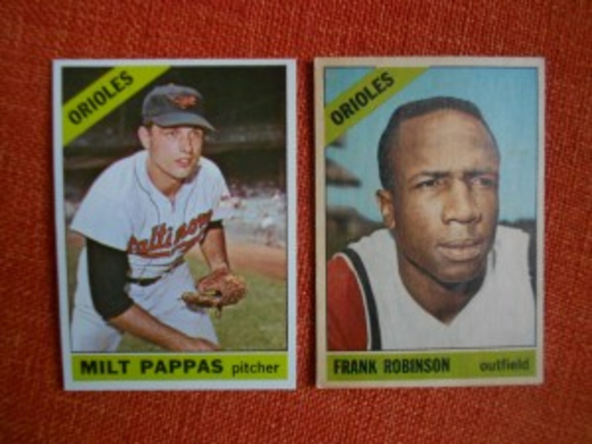 Frank Robinson and Milt Pappas were traded for one another on Dec. 9, 1965 – apparently too late to change Pappas' 1966 first series card, which still had him as an Oriole. The Robinson card was produced late enough to reflect the trade but not in time to photograph him in an Orioles uniform.