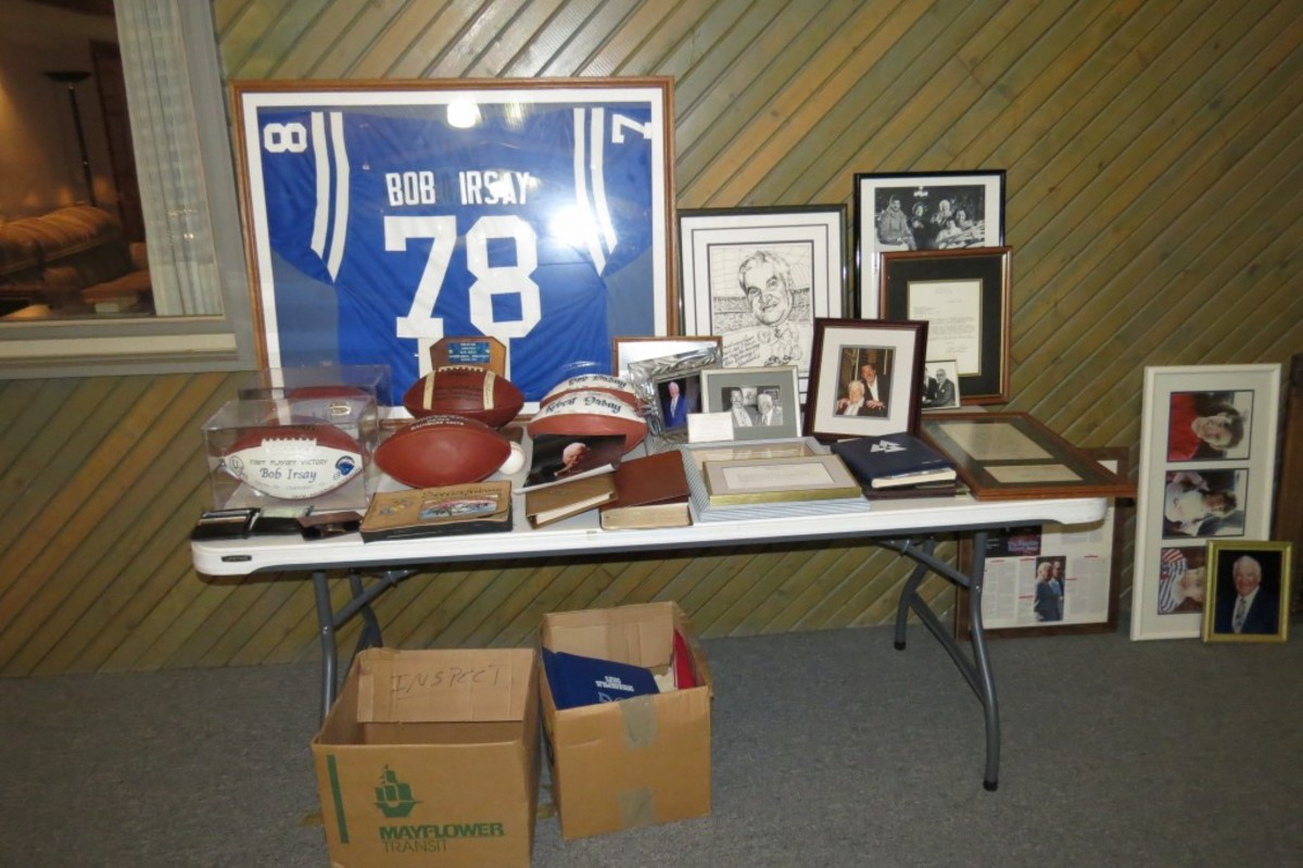 A number of items belonging to Bob Irsay were to be given to Irsay's son Jim, who is the current owner of the Colts. Items included several game balls, such as the Colts first victory for which Irsay was the owner of record.