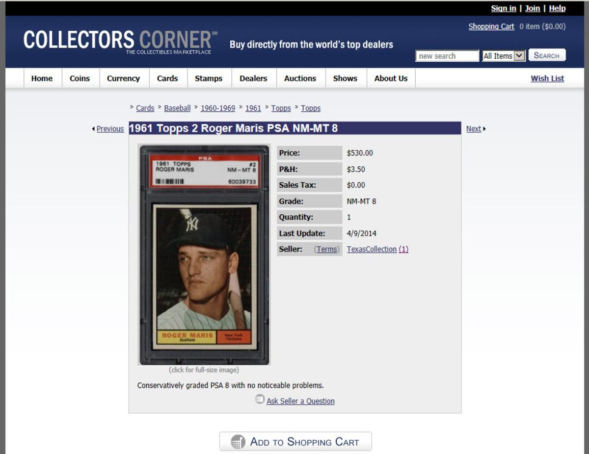Collectors Corner listing