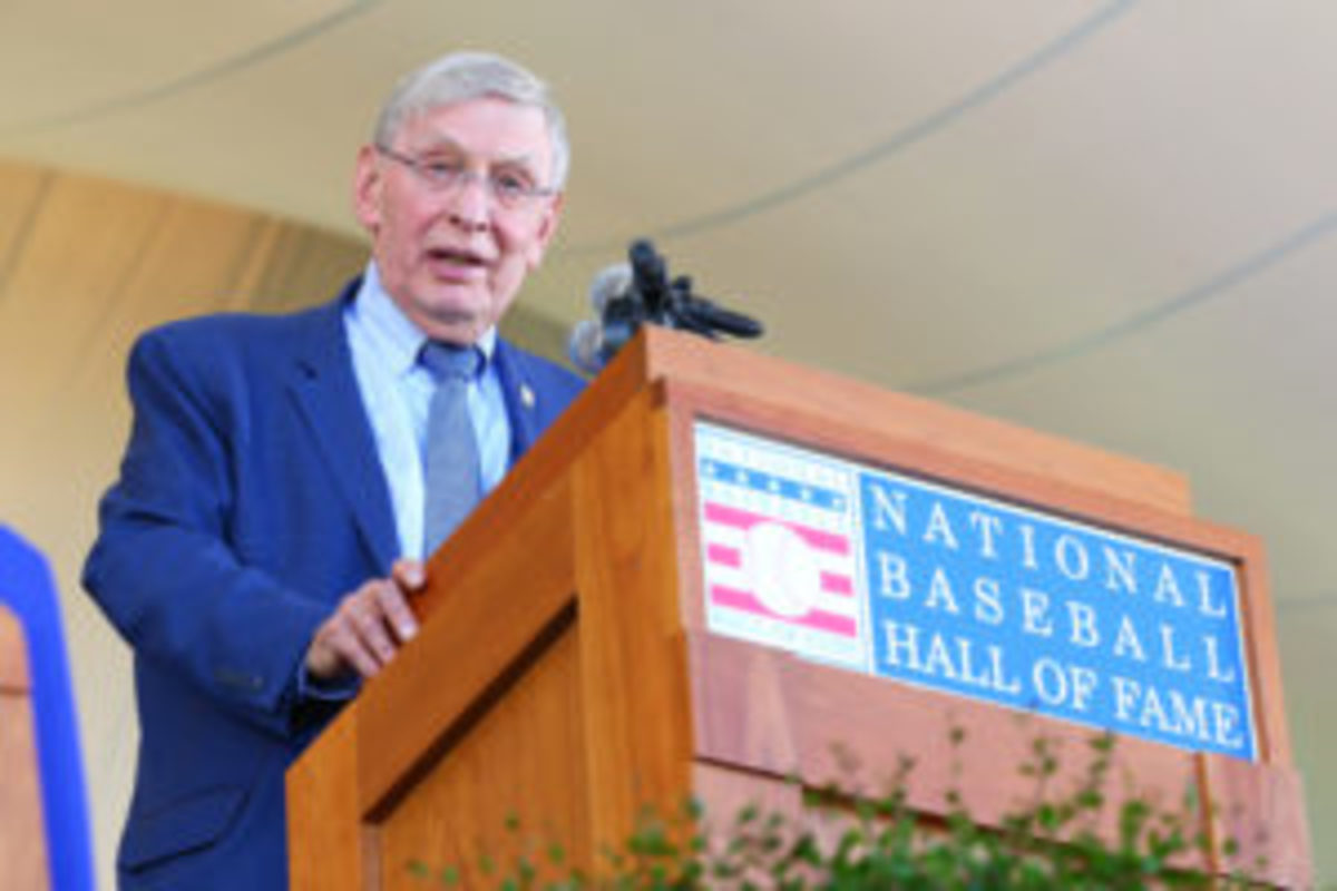 Bud Selig gives his induction speech at Clark Sports Center during the Baseball Hall of Fame induction ceremony on July 30, 2017 in Cooperstown, New York. (Photo by Mike Stobe/Getty Images)
