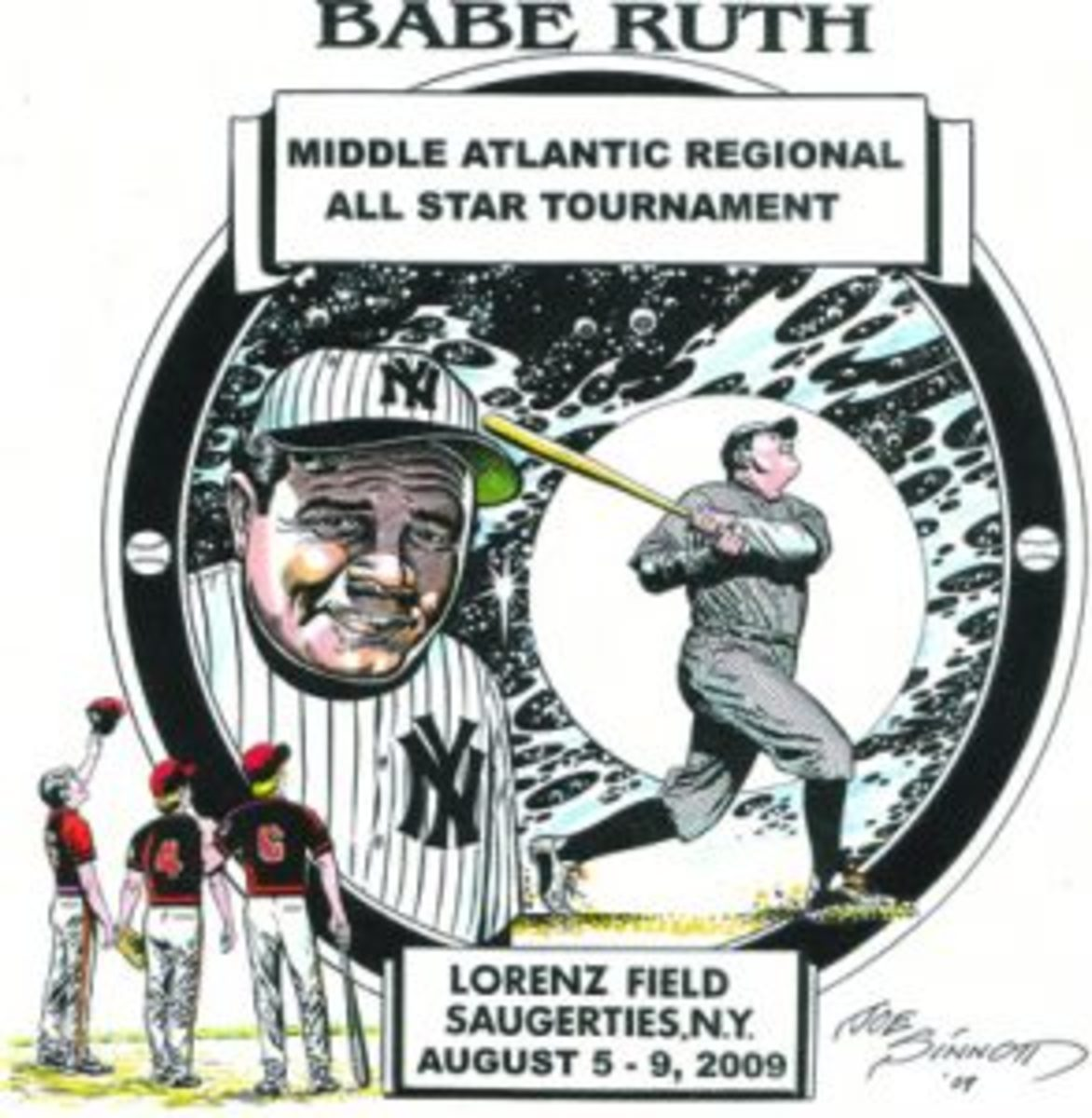There are times when Joe Sinnott donates his time and talent to create items for charitable and community events, such as state and regional Babe Ruth Baseball Tournaments in Saugerties, New York.