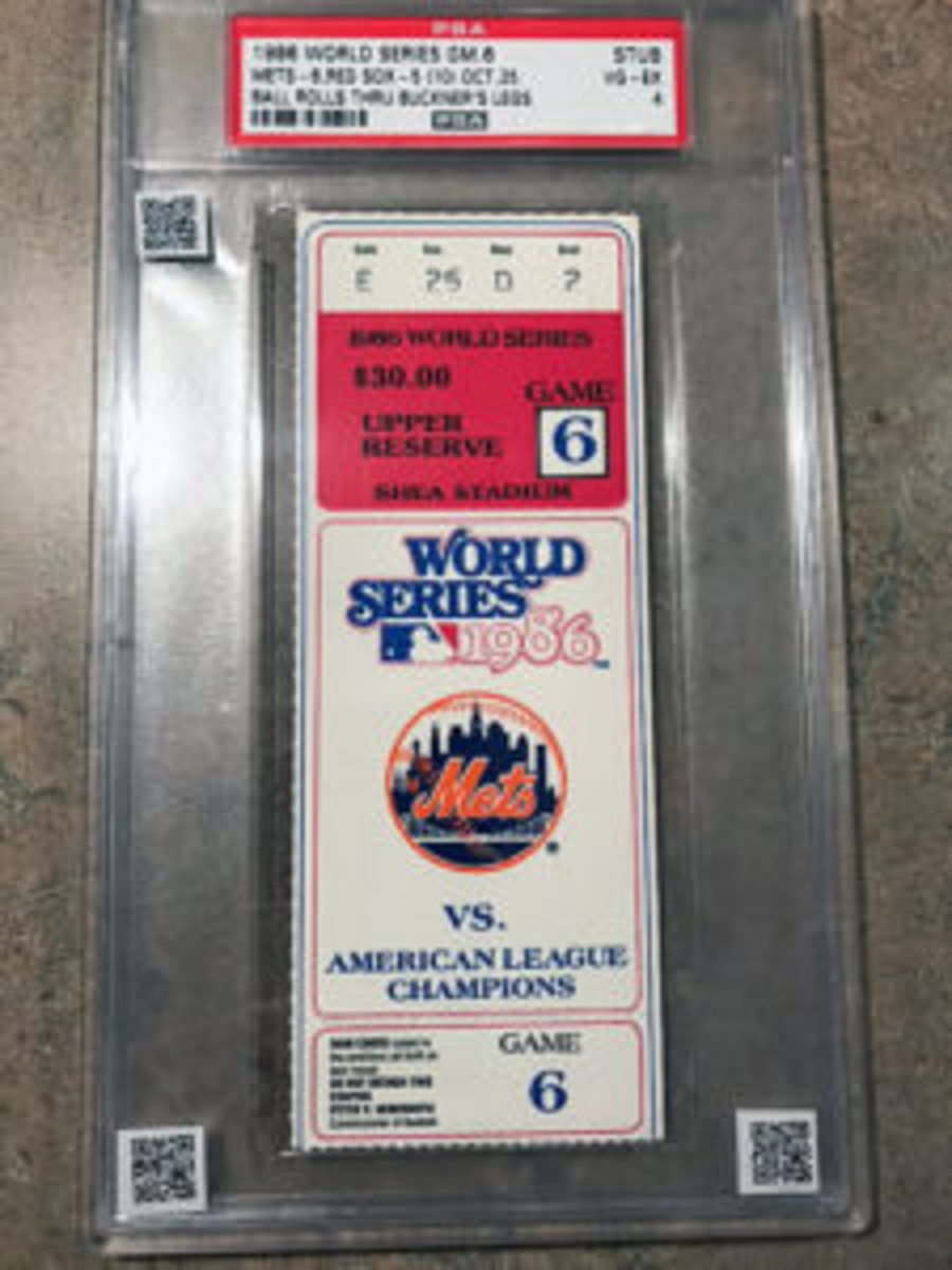 A collector from the Midwest has added QR codes to the cases of some of his graded tickets. One of the QR codes on this ticket for Game 6 of the 1986 World Series, when scanned, will lead to video of the ground ball getting by Bill Buckner, through his legs.