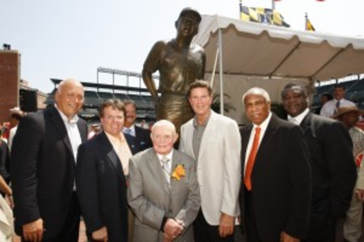 From left to right at the unveiling of the Earl Weaver statue: Cal Ripken Jr., Toby Mendez, Earl Weaver, Jim Palmer, Frank Robinson and Eddie Murray. Photo credit: Todd Olszewski/Baltimore Orioles