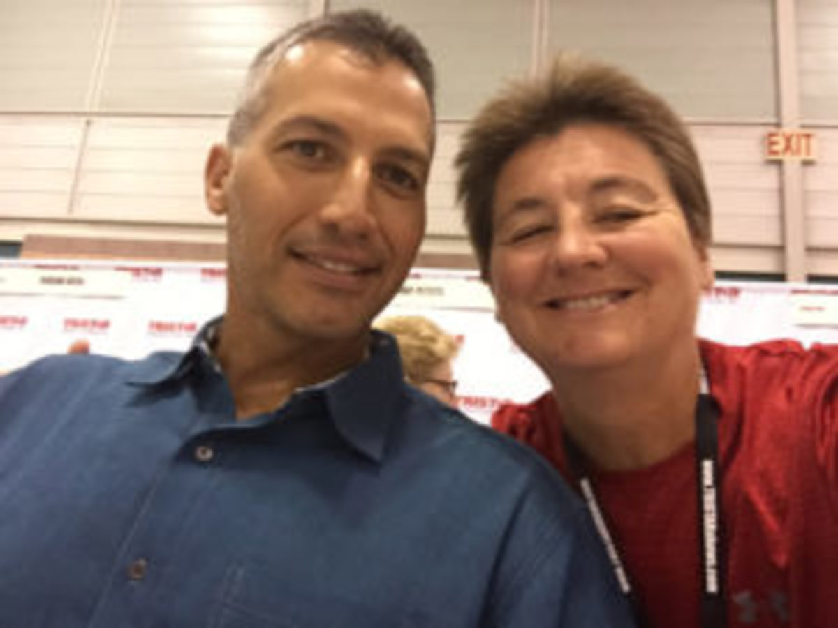 Karen Murphy (right), who has been collecting autographs since she was 15 years old, has met several athletes during her collecting journey. Here she poses for a photo with Andy Pettitte.