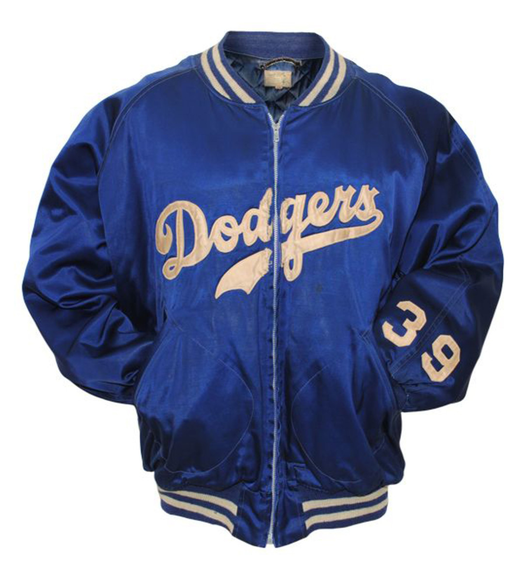 1950s Los Angeles Dodgers satin jacket owned and worn by Roy Campanella, $71,554. Grey Flannel Auctions image