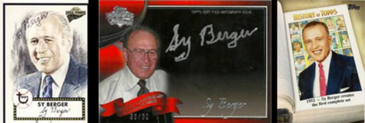 Cards of Sy Berger: Sy's 2004 Topps Fan Favorite, his 2011 Topps Lineage autograph card and his 2011 History of Topps card.