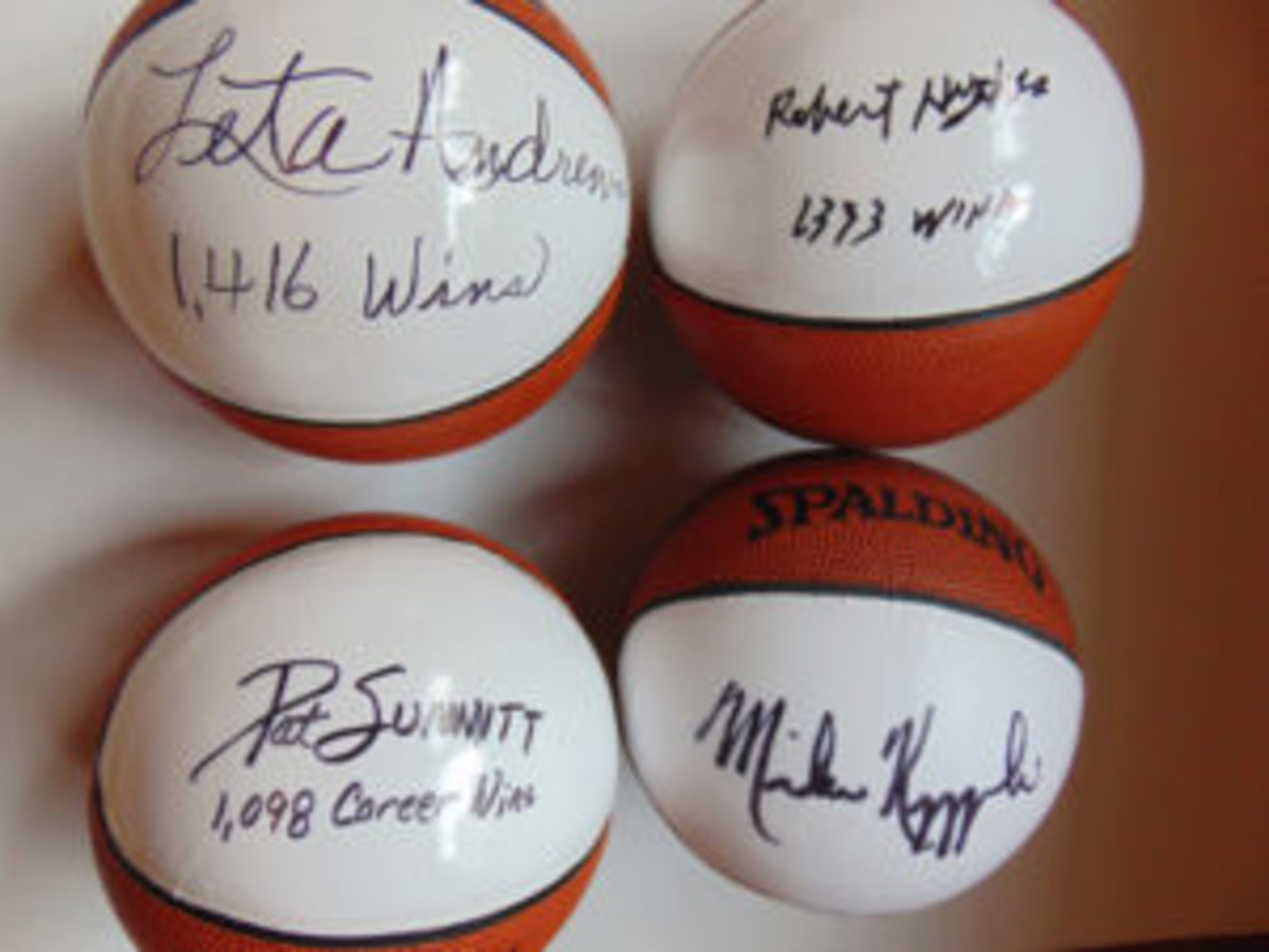 Signed mini-ball collection of the career coaching leaders in boy's and girl's high school basketball, and men's and women's NCAA basketball. All four top winningest of all-time at these levels.