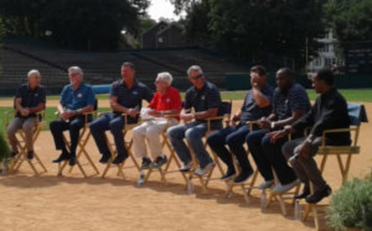 Members of the 2018 Baseball Hall of Fame Class assembled at Doubleday Field for a roundtable discussion the day after they were inducted into the Baseball Hall of Fame. (Dan Schlossberg photos)