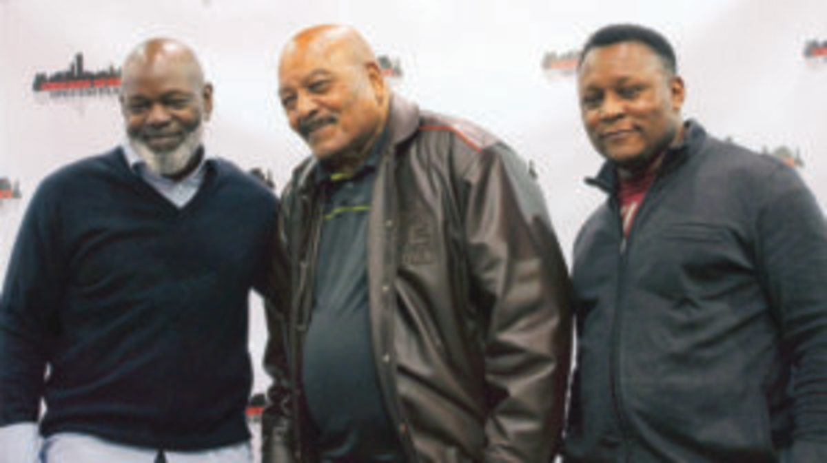 Football Hall of Famers (LEFT to RIGHT) Emmitt Smith, Jim Brown and Barry Sanders. (Rick Firfer photo)