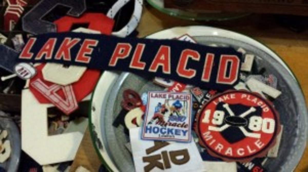Stores all along Main Street in Lake Placid have memorabilia from the 1980 Winter Olympics. The Adirondack Outlet shop has many vintage patches.