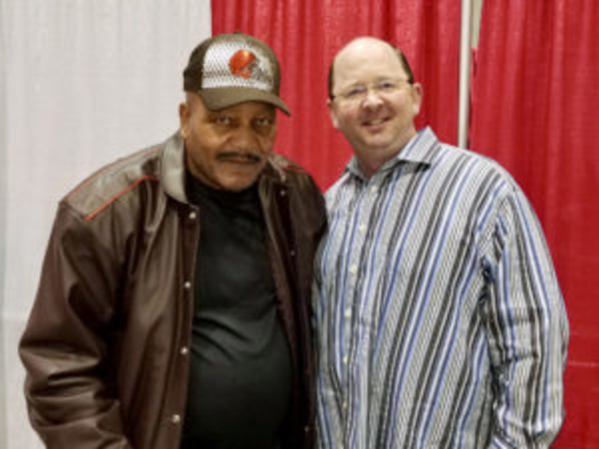 Football Hall of Famer Jim Brown (left) and longtime collector Chad King from Frisco, Texas.
