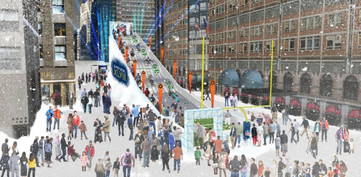 An artist's rendering of the giant, outdoor toboggan run on Broadway in midtown Manhattan for Super Bowl Boulevard. The eight-lane toboggan run is 180 feet long by 58 feet high. Artist renderings provided by the NFL.
