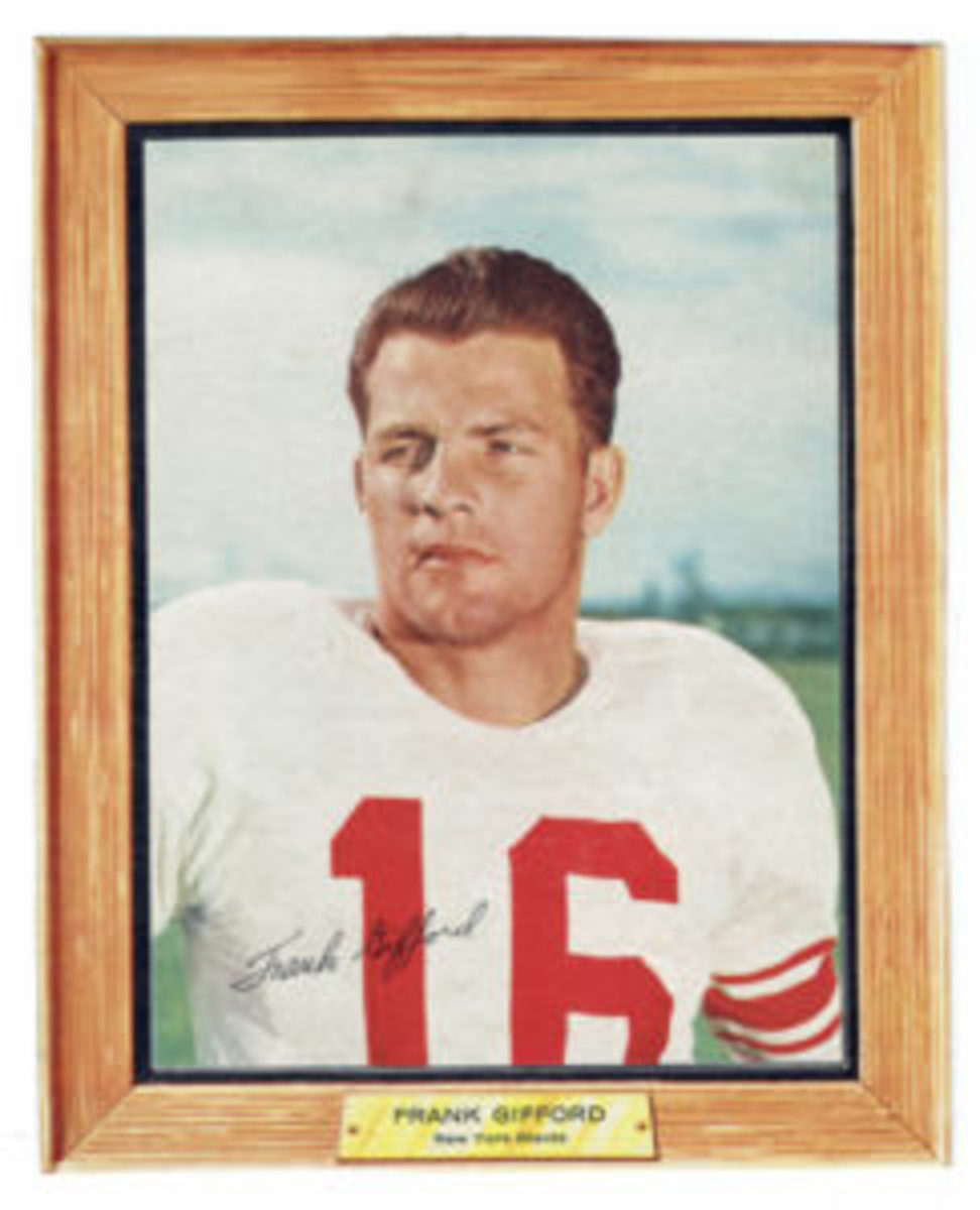 "Frank Gifford's signature from the 16 oz. box version will have most of the ""G"" and all of the ""i"" and the first ""f"" on top of the red number ""1"" on his uniform."