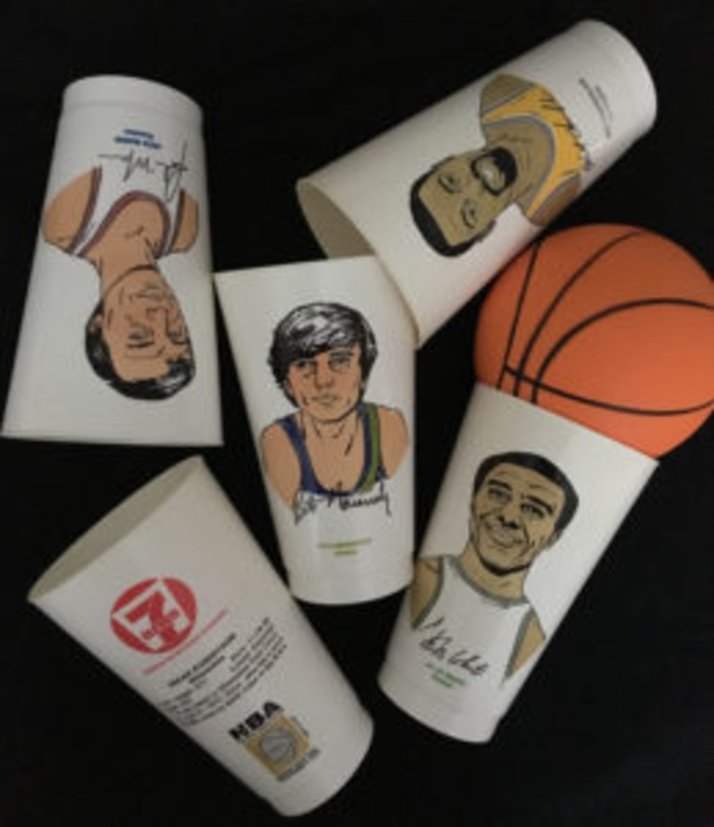 A sampling of the 7-Eleven Slurpee basketball cups that were released in the early 1970s.