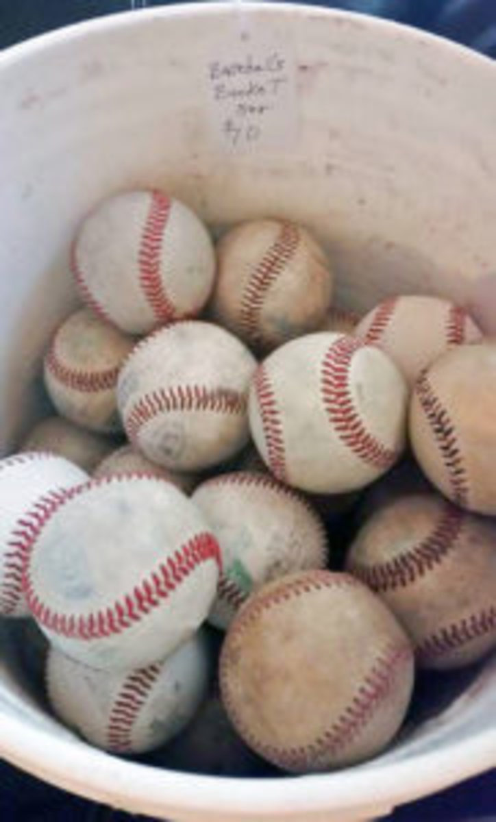 This bucket of baseballs was purchased at a garage sale.(Submitted photo)