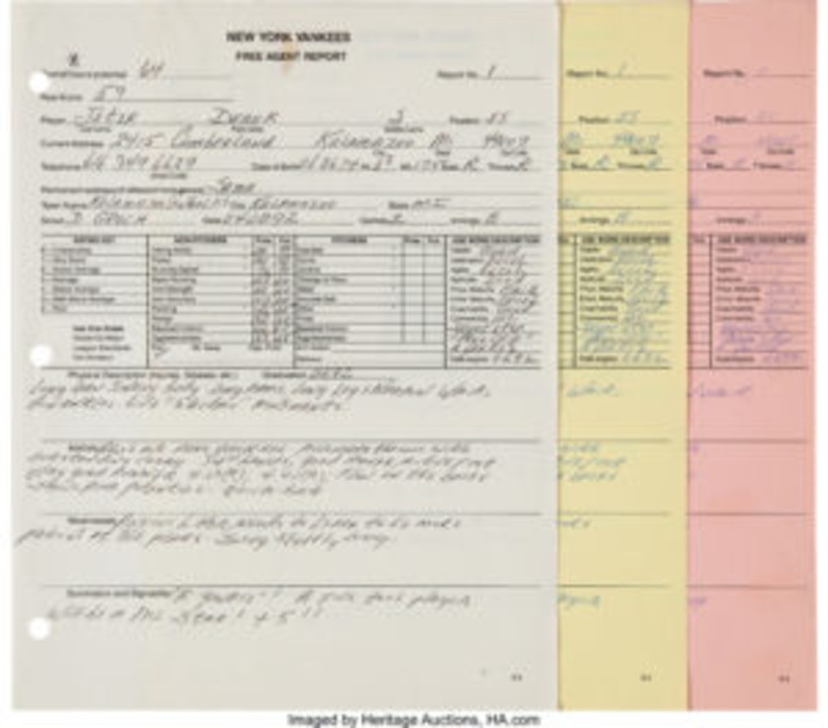 Derek Jeter's 1992 scouting report sold for $102,000.