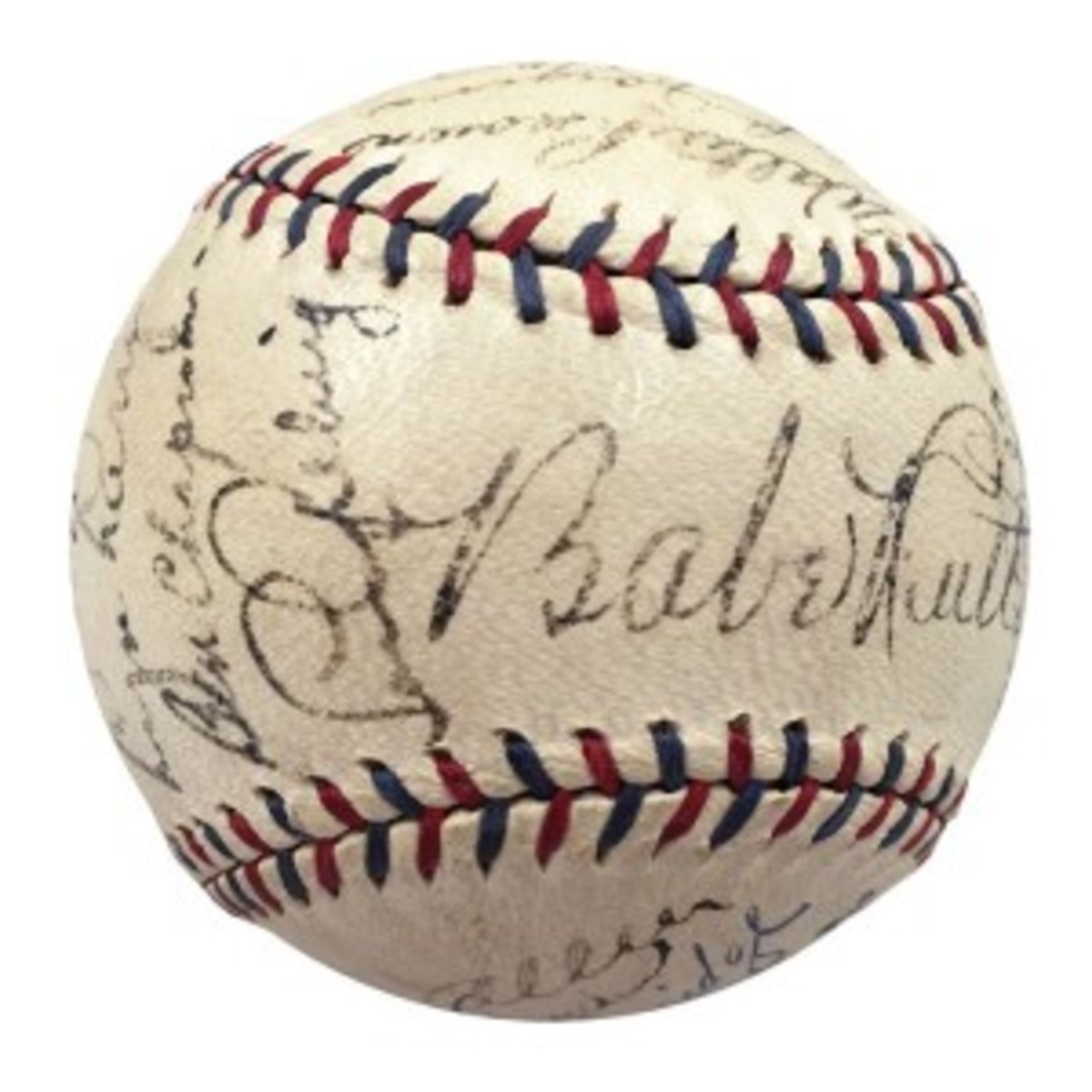 Baseball signed by 23 of the 1932 New York Yankees, including Babe Ruth, Lou Gehrig and other Hall of Famers, $115,242. Grey Flannel Auctions image