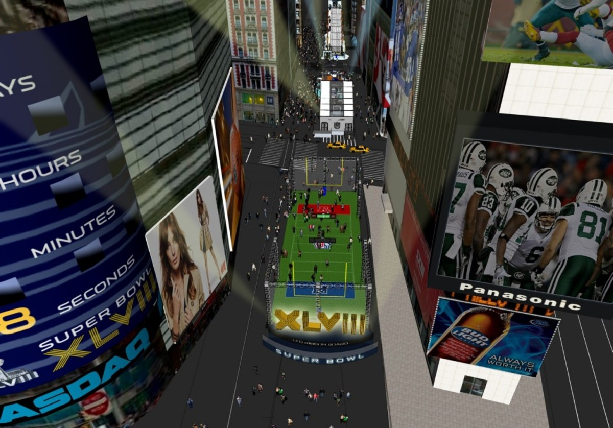An artist's rendering of an overview of the full-size football field on Broadway in midtown Manhattan for Super Bowl Boulevard.