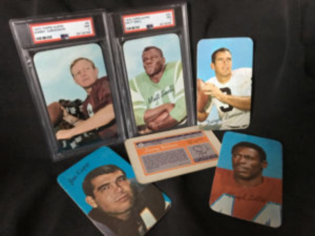 A sampling of cards that were included in the special issue of Supers cards that were released by Topps in 1970.