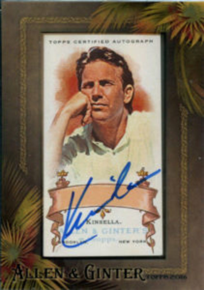Topps included autographed cards from Field of Dreams star Kevin Costner in its 2016 Allen & Ginter baseball card release.