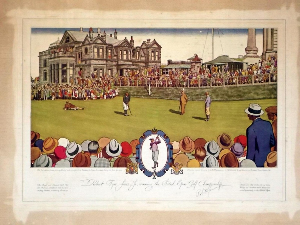 Rare 1930 Currier & Ives lithographic print, signed by the late golfing legend Bobby Jones.