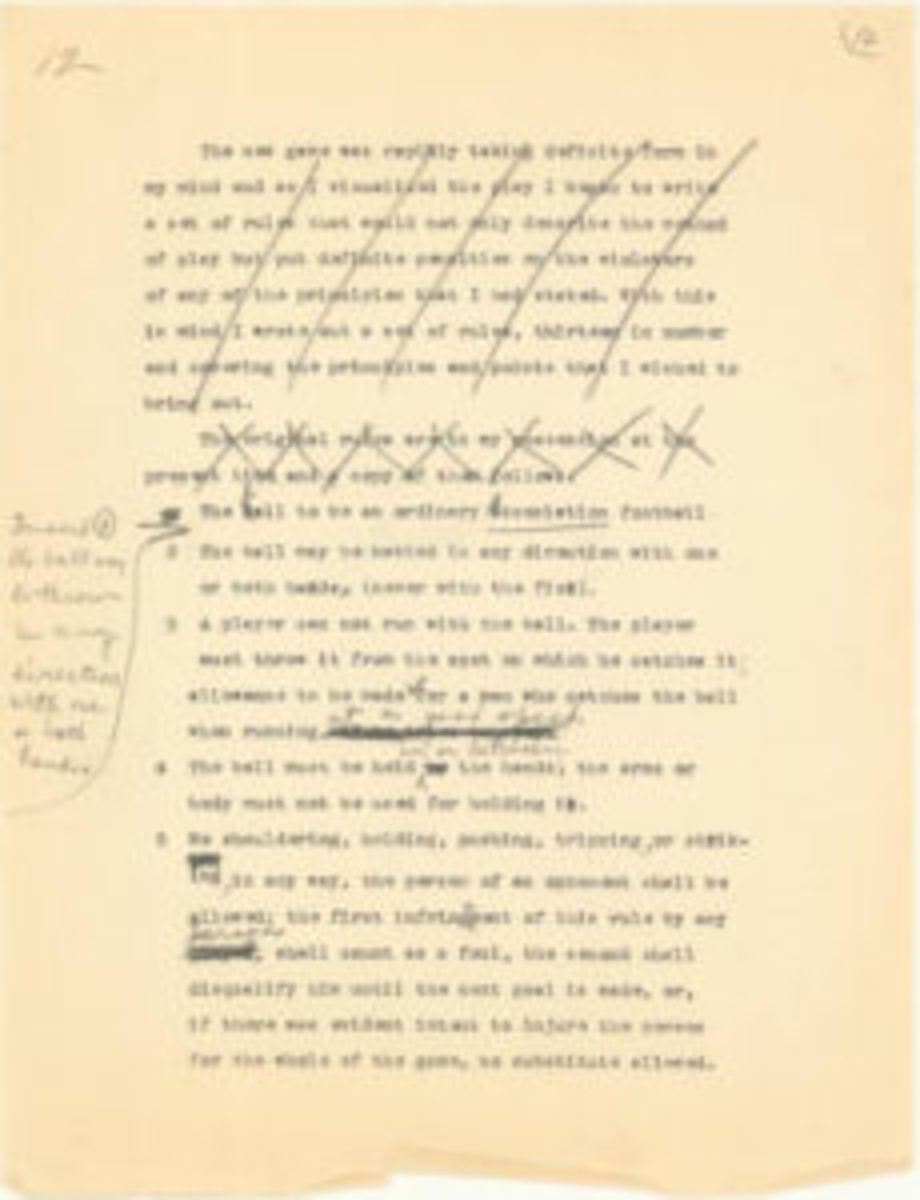James Naismith's 1891 Founding Rules of Basketball from his 1934 manuscript with hand notations netted $171,850. (Image courtesy Goldin Auctions)