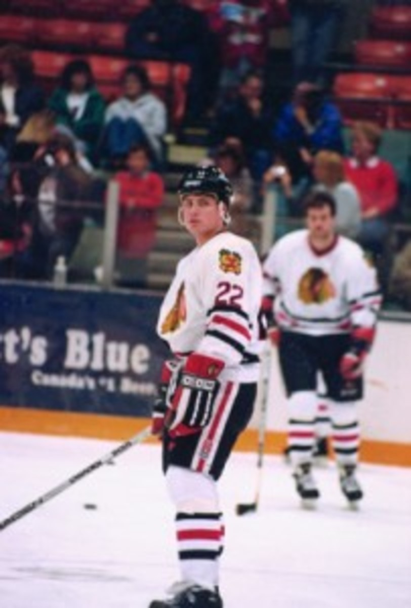 Knee injuries halted Rucinski's professional career, although he did suit up for his beloved Blackhawks.