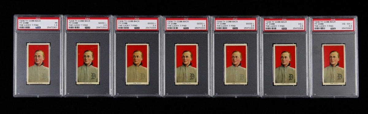 "The front and back of the finest known T206 Ty Cobb with Ty Cobb back, one of the recently discovered ""The Lucky 7 Find"" cards authenticated by PSA. Photo credit: Professional Sports Authenticator."
