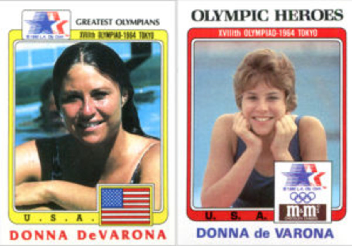 "A boxed set of 44 ""Olympic Heroes"" trading cards was available through a mail-away offer. It cost $2 plus 10 wrappers from M & M's chocolate candies. The card of swimmer Donna de Varona used a different photograph than the previous sets."