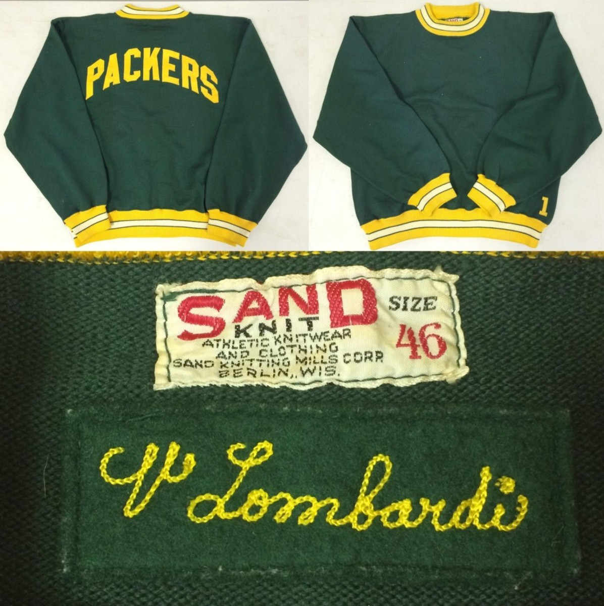 Sand Knit green, gold and white Green Bay Packers sweater previously owned and worn by the late Packers' coaching legend Vince Lombardi ($17,250).