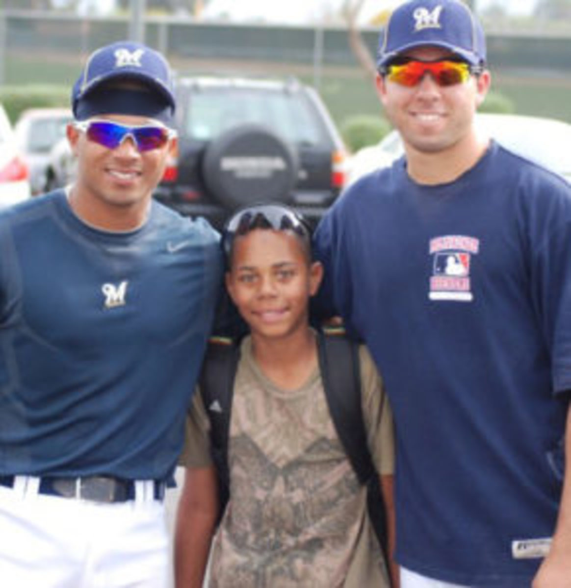 Hunter Greene (center) met many minor and major league players while attending spring training as a kid. (Photo courtesy Hunter Greene Family)