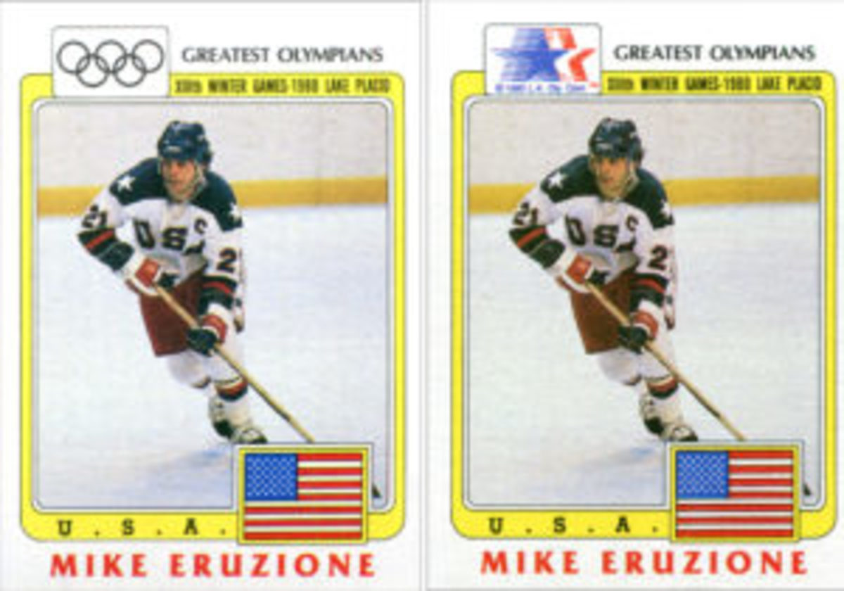 "One version of the 99-card ""History's Greatest Olympians"" featured cards that used five black Olympic rings as the logo in the upper-left corner, while another version used red, white and blue stars as the logo."